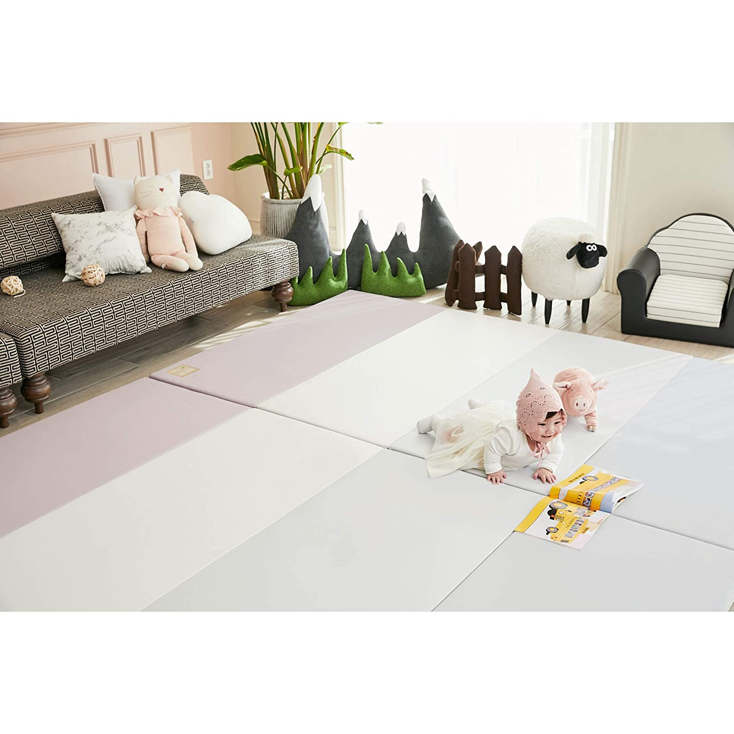 Perfect for Crawling SG size 240x140 cm Thick and Large Dust Zero: Urban Grey ALZIP Dust Zero Baby Play Mat Certified Non Toxic Tummy time and Noise Reduction