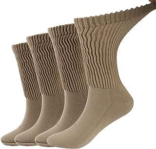 Dsource Diabetic Socks for Men Women,Non-Binding Loose Fit Dress Crew Socks with Seamless Toe 2 or 4 Pack