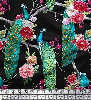 Soimoi Velvet Fabric Floral & Peacock Bird Print Fabric by The Yard 58 Inch Wide
