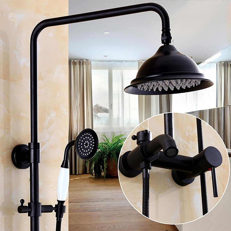 Shower set Kevin Europische Antike Dusche Sets Stilvolle Dusche mit Handbrause Schwarz Bronze Regendusche Messing Duschkopf Handbrauseschlauch, e