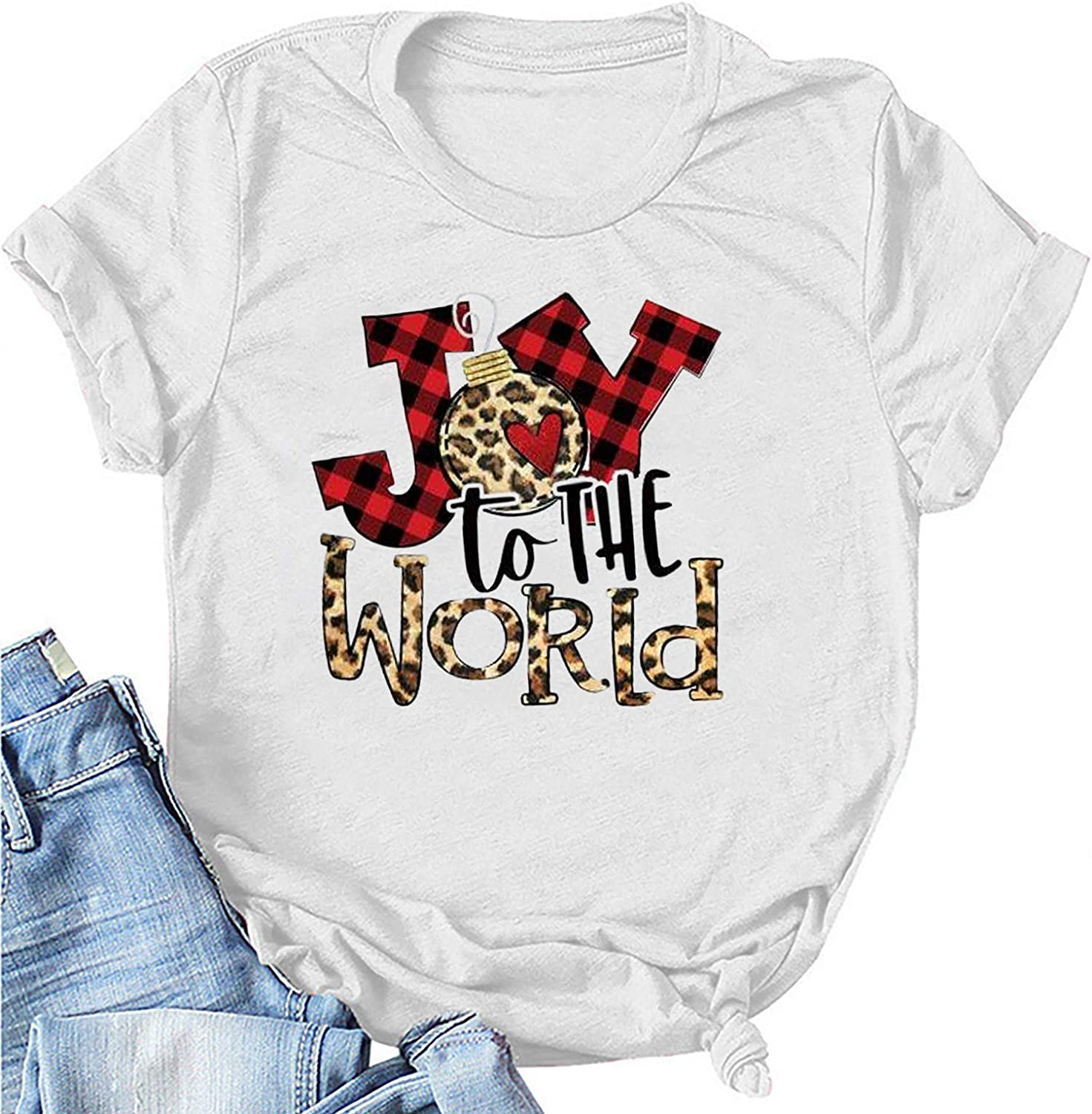 Joy to The World Shirts for Women Leopard Plaid Pattern Graphic