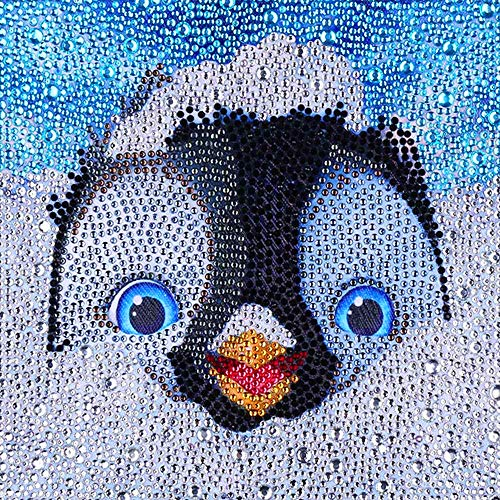 EEZYCHOIC 5D Diamond Painting Kits for Kids Full Drill Painting by Number Kits DIY Mosaic Making Arts Crafts Supplies for Children's Gifts (Penguin)