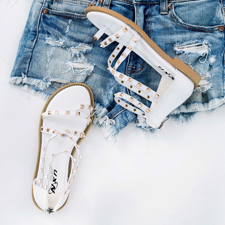 ZHIRONG Frauen Sommer Mode Flachen Flachen Flachen Sandalen Rivet Roman Style Student Schuhe Böhmen Strand Schuhe ( Farbe   Weiß , größe   EU39 UK6 CN39 )  9c6508