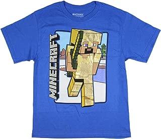 Minecraft Steve Boys' Short Sleeves Tee Size Large (14-16) Blue