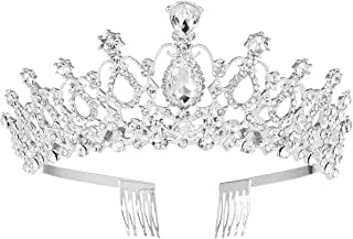 Frcolor Wedding Tiara Crystal Rhinestones Tiara Crown With Comb Pageant Princess Crown As Shown