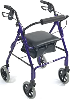 Days Lightweight Aluminum Rollator, Adjustable Rolling Walker with Seat for Elderly, Disabled, Limited Mobility Patients, Walking Stabilizer with Four Wheels, 364 lb. Weight Capacity