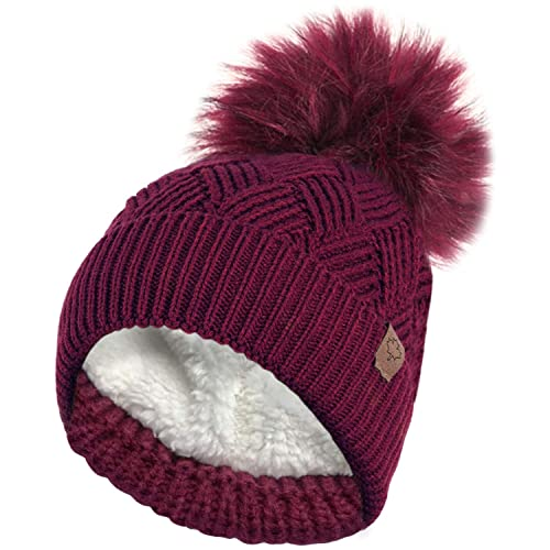 5d8760b85a RockJock Ladies Warm Chunky Diamond Cable Knit Hat with Thermal Teddy  Fleece Lining and Detachable Faux