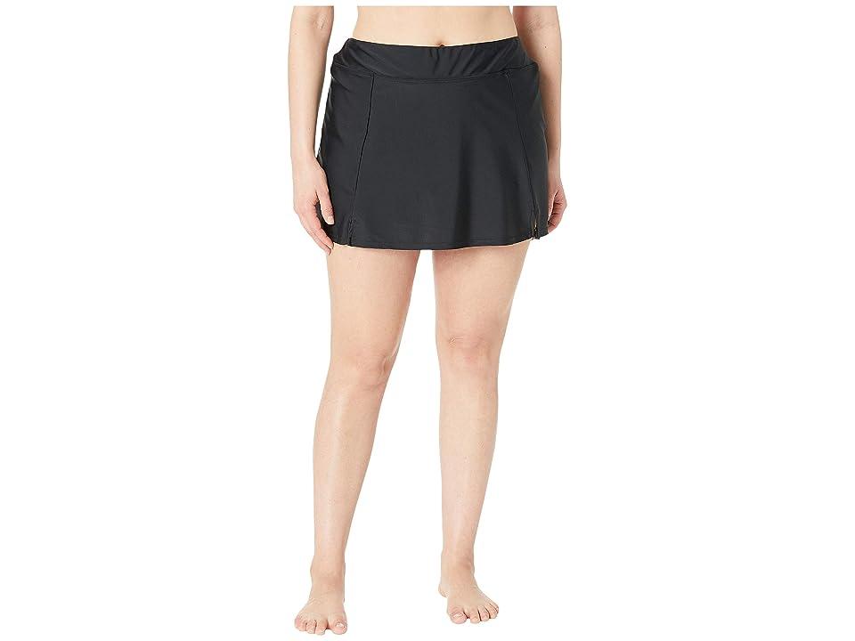 Maxine of Hollywood Swimwear Plus Size Solids Separate Waist Band Skort Bottoms (Black) Women