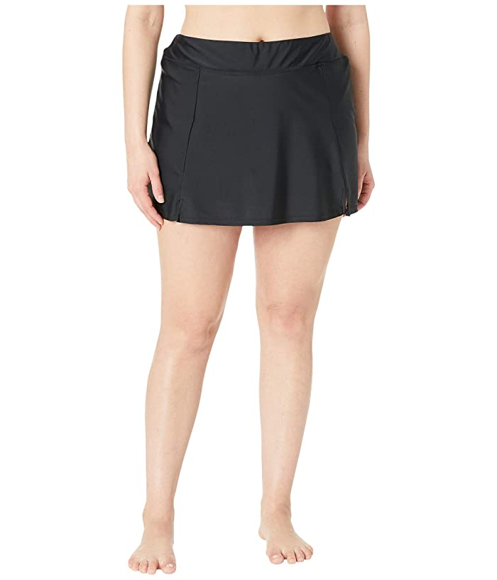 Maxine of Hollywood Swimwear Plus Size Solids Separate Waist Band Skort Bottoms (Black) Women
