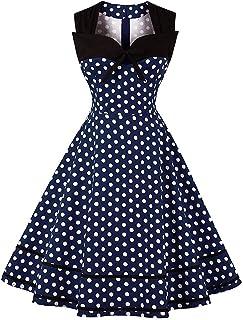 0e195a869a0 MisShow Robe Femme Vintage Imprimée à Pois Mi Longue Elégante Style Audrey  Hepburn sans Manche Col