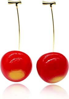 Uloveido Pretty Big Red Cherry Fruit Stud Dangle Earrings for Women Teacher Gifts (Come with Gift Box) Y437