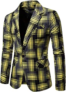 KASAAS Blazer for Men Plaid One Button Suit Long Sleeve Turn Down Collar Casual Simple Sport Jacket Tops