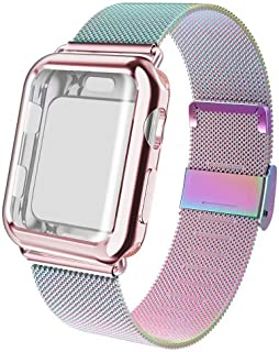 ADWLOF Compatible for Apple Watch Band 38mm Screen Protector Case, Sports Wristband Strap Replacement Band with Protective Case Compatible for iWatch Series 3/2/1,Colorful