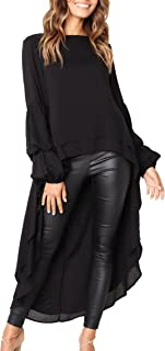 Women's Lantern Long Sleeve Round Neck High Low...