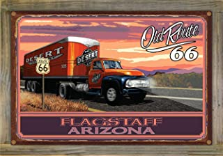 Northwest Art Mall Flagstaff Arizona Route 66 18 Wheeler Rustic Metal Print on Reclaimed Barn Wood by Paul A. Lanquist (12