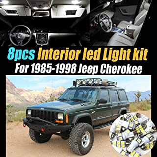 8Pcs Super White 6000k Car Interior LED Light Bulb Kit Package Compatible for 1985-1998 Jeep Cherokee
