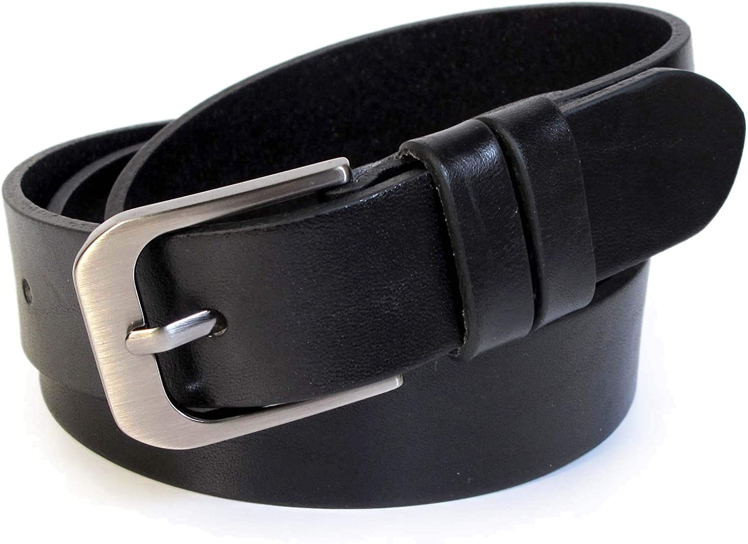 (CW2121) Womens Black Belt 100% Real Leather Size 28,30,32,34,36  Wide 1  Solid