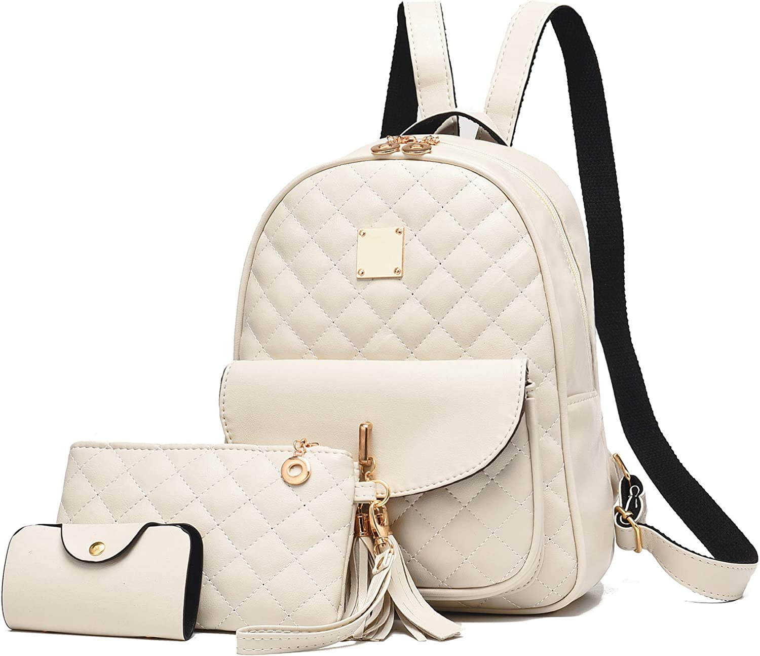 Women's Backpack 3-pieces Fashion PU Leather Simple Design Bags Travel Bookbag Beige for Women