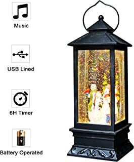 Eldnacele Singing Battery Operated Musical Lighted Christmas Snowman Water Glittering Swirling Snow Globe Lantern with Music Christmas Home Decoration and Gift Snowman Family