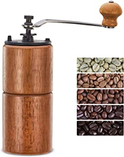 Fumao Hand Coffee Grinder Wooden Coffee Mill with Ceramic Burr, Large Capacity Dark Wood, Cast Iron Manual Crank, Portable Adjustable (Dark wood)