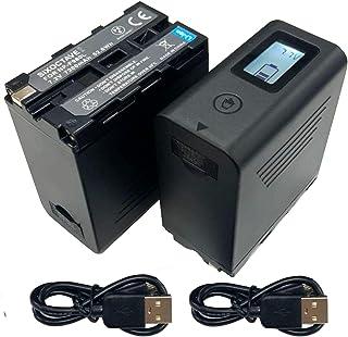SIXOCTAVE 2021年5月 最新改良版ICチップ搭載 2個セット NP-F950 NP-F960 NP-F970 互換バッテリー [2ポート搭載 USB Type-C 充電対応 触れるだけで残量確認可能 ] ソニー HDR-FX1 / ...