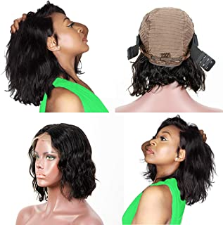 ZILING 10 inch Short Bob Lace Front Wigs Human Hair Pre Plucked With Baby Hair Brazilian Body Wave 13X4 Lace Frontal Real Hair Wigs For Black Women Glueless 130% Density Middle Part(10 Inch)