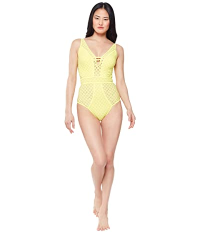 Jessica Simpson Sweet Tooth Solids Plunge Paneled One-Piece