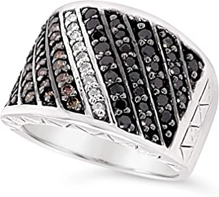 .925 Sterling Silver Chocolate Brown White and Black Diamond Wide Band Bypass Ring For Women 6/7 Carats