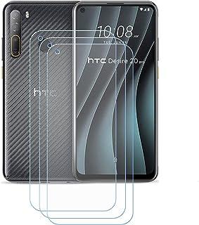 YZKJ 3 stycken bepansrat glas skyddsfolie för HTC Desire 20 Pro, 9H hårdhet ultratydlig härdat glas displayskyddsfilm, Ant...
