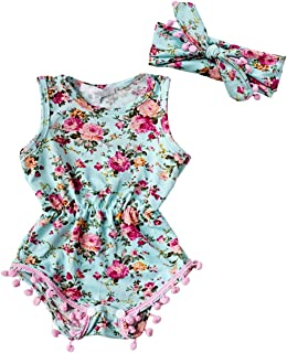 Aliven Baby Girls' Floral Romper Jumpsuit Headband Sunsuit Outfits 0-24M
