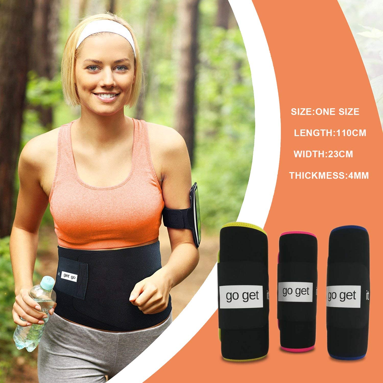 Go Get it Waist Trimmer Belt for Men & Women, Promotes Sweat & Weight Loss in mid Section with Sauna Effect, Best Trainer Belt Pink