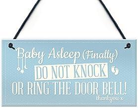 """Meijiafei Baby Sleeping - Door Sign/Plaque Newborn New Baby Gift 10"""" x 5"""" - 25.4cm x 12.7cm PVC-RC-321"""