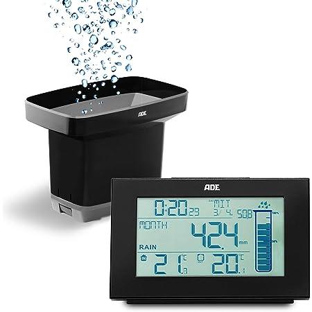 ADE WS1907 Pluviometro Digitale da Giardino con sensore Radio, termometro per Interni ed Esterni, Orologio radiocontrollato, Nero