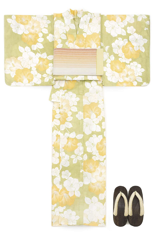 (ソウビエン) 浴衣 セット レディース 黄緑色 イエローグリーン 椿 つばき 花柄 ラメ 綿麻 手捺染 手縫い 半幅帯 マクレ ボヌールセゾン