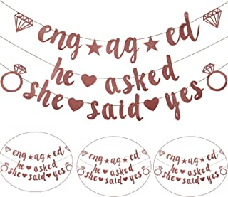 2 Pieces Engagement Party Banner Decoration, Include He Asked She Said Yes Banner and Engaged Banner for Wedding and Engagement (Rose Gold)