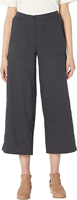 Soft Organic Cotton Twill High-Waisted Wide Ankle Pants