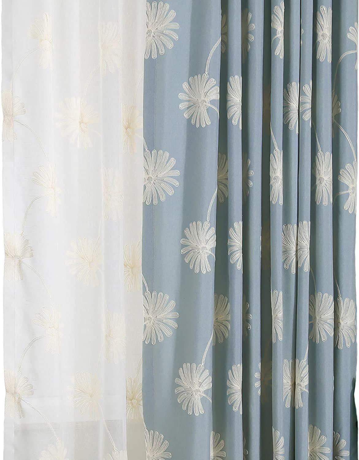 VOGOL(2 Panels Floral Patten Embroidered Elegant Faux Linen Grommet Curtains Thermal Insulated 60% Blackout Heavy Drapes for Bedroom Living Room,Energy Efficient Window Treatment Panels,52 x 84 Inch
