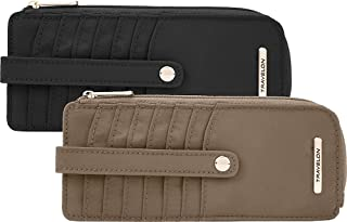 Travelon: Set of 2 Nylon Anti-Theft Tailored Slim Zip Wallets with Long Tabs - Sable/Onyx