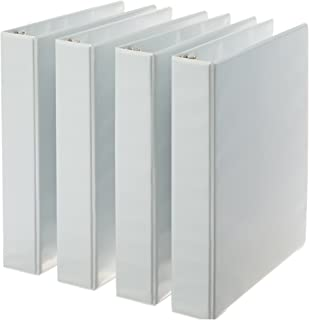 AmazonBasics 3-Ring Binder, 1.5 Inch Rings - 4-Pack (White)