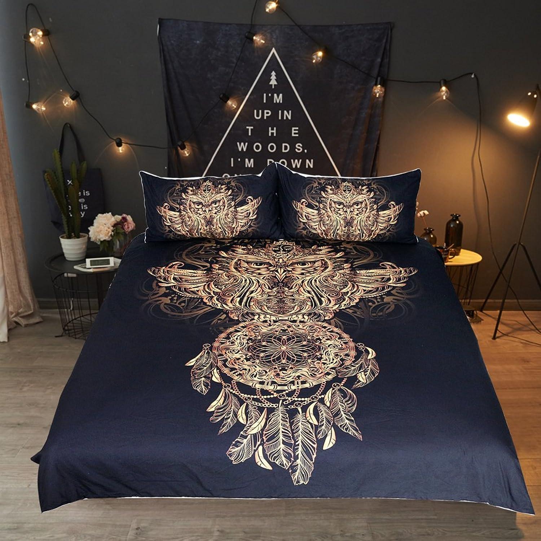 Sleepwish Owl Dreamcatcher Bedding Tribal Dream Catcher Duvet Cover 3 Piece Faux gold Glitter Black Bedding Set (King)