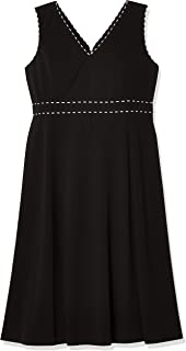 Calvin Klein Women's Sleeveless A-line V-Neck Midi Dress