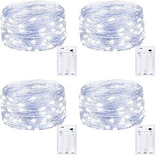 Kolpop Guirnalda Luces Pilas, Luces LED Pilas[4 PCS], Luces LED Habitacion 5m 50 LED Luces de Cadena Micro con Pilas de Alambre de Cobre para Decoración Interior Bodas Fiesta de Navidad (Blanco Frio)
