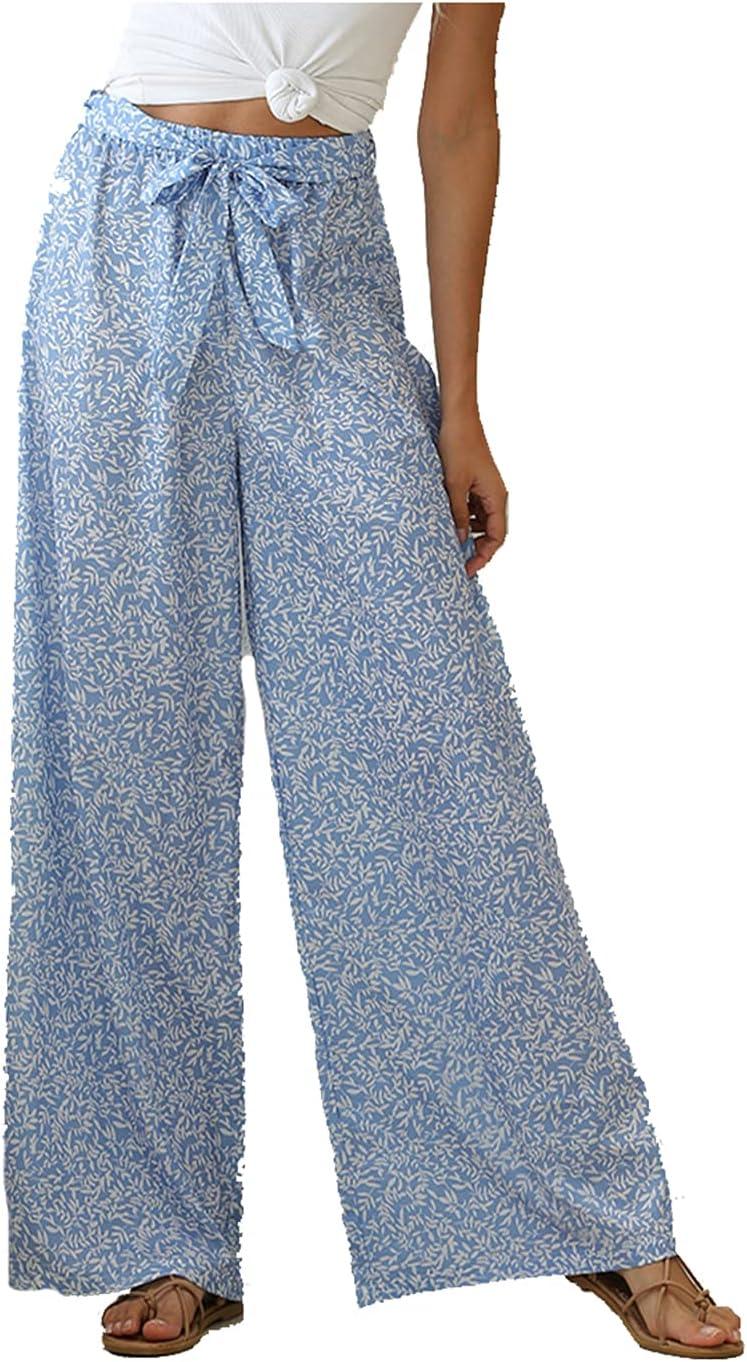 Starlips Women's Hight Waist Pants 2021 Summer Palazzo Pants Casual Wide Leg Bell Bottom Pants Fashion Flowy Boho Pants,Blue,XL