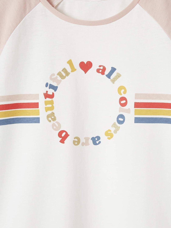 Vertbaudet T-Shirt Fille bicolre Motif Graphique Manches Raglan