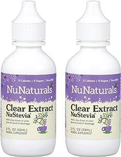 NuNaturals NuStevia Clear Extract Stevia Natural Liquid Sweetener, 2 Ounce, (2-Pack)