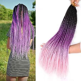 3Packs Senegalese Twist Crochet Hair 22inches 20Stands Micro Twist Braiding Hair Crochet Braids Kanekalon Synthetic Crochet Twist Hair Extensions(Black Purple Pink)