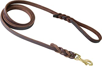 Kgt Leather Braided Dog Leash 6 Foot Leather Dog Lead Traffic Handle for Large Dogs Training & Walking