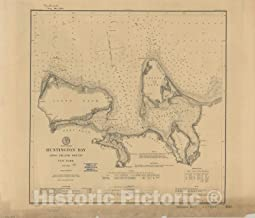 Historic Pictoric Map : Long Island, New York 1889, Huntington Bay, Long Island Sound, New York, Antique Vintage Reproduction : 52in x 44in