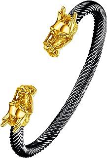 Men's Double Head Dragon Bracelet Adjustable Stainless Steel Sliver Cuff Cool Polished
