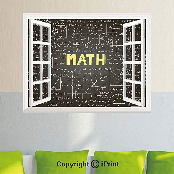 Open Window Wall Decal Sticker Dark Blackboard Word Math Equations Geometry Axis Decorative 27 5x23 6inch Removable Wall StickerDark Brown White Yellow